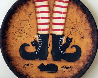 Halloween Folk Art Hand Painted Primitive Plate, Witch's Curly-Toed Shoes, Striped Stockings, Three Black Kittens, Spider Web, MADE TO ORDER