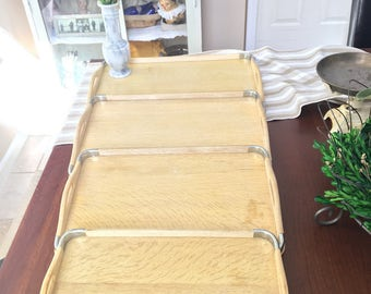 Vintage Set of 4 Nesting Serving Trays With Metal Corners