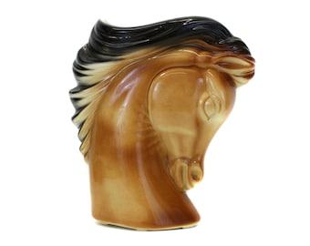 Vintage Brown and Black Horse Head Planter (E8136)