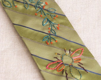 Mens Ties, Neck Tie, Bees, Hand Embroidered, Neckties, Bumble Bees, Up-Cycled, Green Silk, Vintage Ties, Handmade, Wil Shepherd Studio,Ties