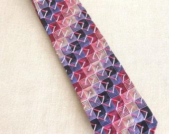 Silk Necktie, Checked, Plum, Silk Ties, Pink, Hand Embroidered, Handmade, Wil Shepherd, Vintage, Mens Ties, Neck Wear, Up Cycled, Preppy