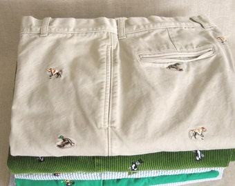Vintage, Men's Pants, Kahki Tan, Preppy, Embroidered, Dogs, Ducks, Ralph Lauren, Motif Pant, Embroidery, Trousers, Casual, Theme, Cotton