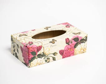 Paris Rose Wooden Handmade Tissue Box Cover