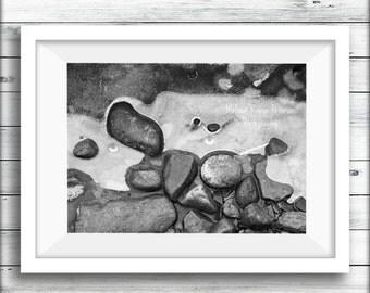Lake Shore Rocks, Nature Photography, Prints, 5x7 + More, Ice, Stones, Pebbles, Rocks, Water, Black & White Home Decor, Monochrome Wall Art