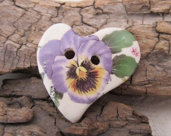 Purple Pansy Folk Heart Ceramic Button