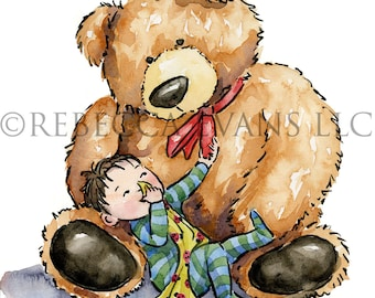 Illustration Art Print of Teddy Bear Hugging Child 8.5x11