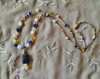 Bohemian lapis citrine necklace with white sea opal, freshwater pearl, silver, and rock crystal