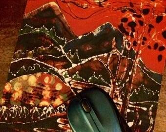 Adirondack Mousepad  16  - Red Sky in Autumn -  mousepad from original batik by Carol