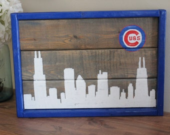 Chicago Skyline with Cubs Logo