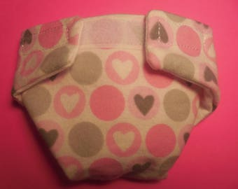 Ready to Ship SIZE #2 cloth Doll Diaper Pink hearts adjusts washable fits bitty baby some baby alive all gone American Girl doll & more