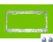 MEGA BLING Disco Colored Glitter Bling Sparkly License Plate Frame and Rhinestone Screw Cap Covers