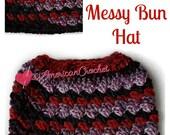 Everyday Kisses Messy Bun Hat Crochet Pattern