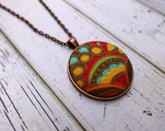 Fabric Pendant Necklace, Fabric Necklace, Pendant Necklace, Fabric Jewelry, Boho Necklace, Large Pendant, Copper Necklace, Copper Sunburst
