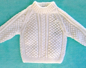 Celtic Sweater in Bright White Acrylic ~ 9 months