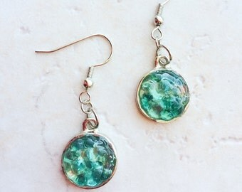 Turquoise Blue Seaglass Earrings, Turquoise Blue Seaglass Jewelry