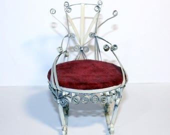 Vintage Tramp Art Can Rocking Chair, Vintage Dollhouse Furniture, Tin Rocking Chair, Small Rocking Chair, Handcrafted Rocking Chair