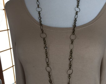 Long necklace in antique brass and crystals, long chain necklace