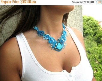 SALE Blue necklace, Blue jewelry, Turquoise Necklace, Gift for women, Beaded Jewelry, Artistic piece, Spring gift for women