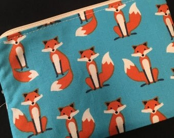 Blue Fox Zippered Pouch - Fox Gift, Coin Purse, Stocking Stuffer, Knitting Notions Bag