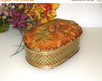 Retro Enesco Imports Covered Oval Bowl / Casserole / Oak Leaves, Acorns, Brass Lattice Basket / Autumn Decor / Excellent!