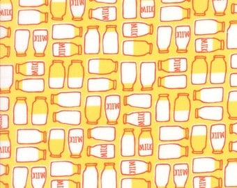Farm Fun Milk Bottles in Sunshine Yellow, Stacy Iest Hsu, 100% Cotton Fabric, Moda Fabrics, 20534 13