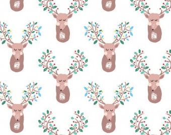 Pine Grove Sleeping Deer in White, Dear Stella Fabrics, 100% Cotton Fabric, Stella-701 White