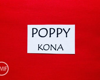 One Yard Poppy Kona Cotton Solid Fabric from Robert Kaufman, K001-1296