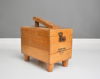 Vintage Wooden Esquire Shoe Shine Box