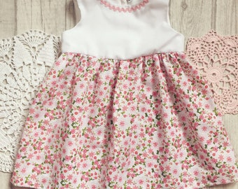 Baby girl dress 3-6 months, pink, floral, ricrac, ditsy floral spring summer babydress, gorgeous cute