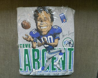 vintage Steve Largent T Shirt 80s Salem caricature tee Mens L 50/50 Seattle Seahawks NOS football new in package Display collectible NFL USA