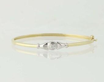 "Diamond Bangle Bracelet 7 1/4"" - 14k Yellow Gold Round Brilliant Cut .45ct N5355"