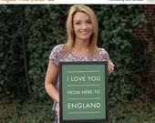 Black Friday SALE Holiday Gift Idea for Her, England London Decor, I Love You From Here To ENGLAND, Shown in Sage - Choose Color, Canvas Pos