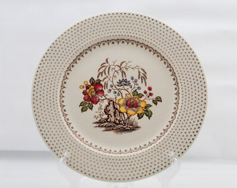 Royal China - Dinner Plate - Chippendale - E54 - Floral - Brown Dots