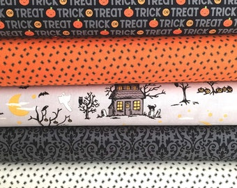 Halloween Bundle of 5 Fabrics, From Riley Blake, Fabrics from Happy Haunting and Ghouls and Goodies, Quilt Shop Quality