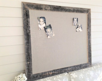 huge barnwood frame magnetic bulletin board reclaimed recycled weathered gray rustic barn 35x48 handmade frame gray
