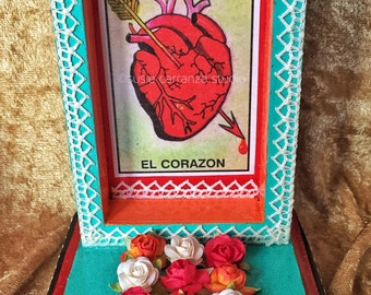 El Corazon Nicho. Loteria inspired art, Mexican folk art.