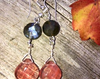 Petitte Cherry Quartz & Labradorite sterling silver dangle Earrings. Lightweight. 2 inches long gemstone dangles. The baroque princess.