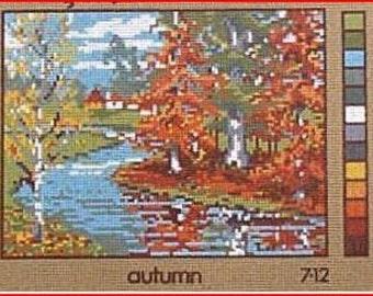Scenic Needlepoint Canvas: Autumn   Last One