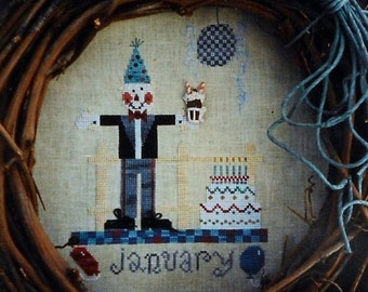 50%OFF Fanci That Primitive SCARECROW Of The Month JANUARY Folk Art - Counted Cross Stitch Pattern Chart