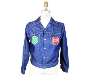 1960s Stop Go Patched Denim Jacket