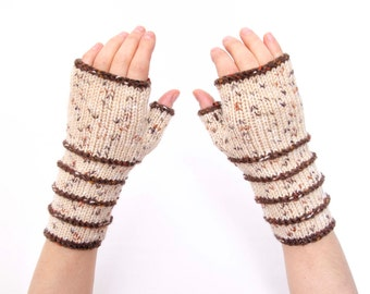 Knit striped fingerless gloves in beige   -  COLOR OPTION AVAILABLE