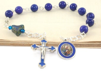 Our Lady of Perpetual Help Pocket Rosary, Catholic Prayer Beads, Blue Howlite