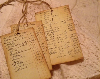 Vintage Ledger Paper Ephemera Hang Tags with Gold Embroidery Thread Set of 3