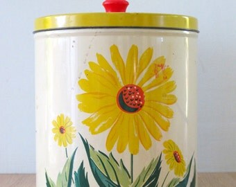Vintage 1950's Tin Storage Canister Sunflower Design
