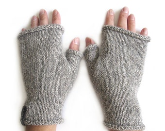 Short Knit Fingerless Gloves, Thumbhole Arm Warmers