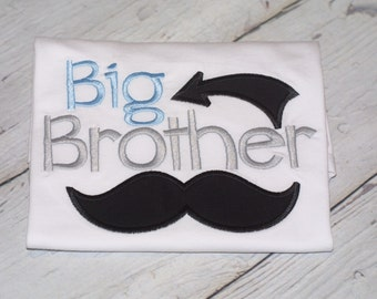 Big brother Shirt with Mustach and Arrow--Pregnancy Announcement--Embroidered shirt or Bodysuit