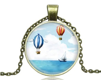 Hot Air Balloons Glass Cabochon Pendant Necklace