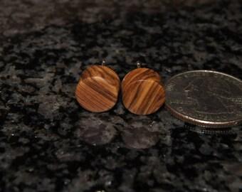 Olive Wood Earrings, stud earrings, stainless steel posts