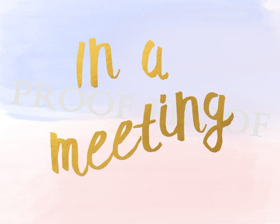 In A Meeting sign // Printable // Business Office // Beach