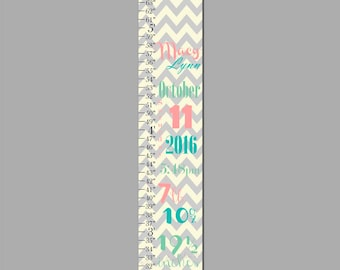 Birth Information Yellow Pink Grey Chevron Canvas Growth Chart Print, Height Chart, Ruler